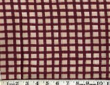 """RED AND BEIGE CHECK, 100% Cotton Fabric, 33""""  Last piece."""