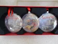 THOMAS KINKADE lot of 3 Clear Christmas Ornament with box 2011 MINT CONDITION