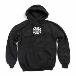 WEST COAST CHOPPERS ORIGINAL CROSS HOODIE BLACK WITH WHITE LOGO **IN STOCK**