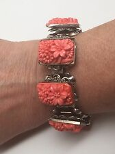 Celluloid Simulated Coral Bookchain Vintage Bracelet