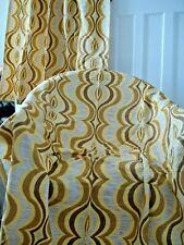 """Vintage Amarillo Mostaza Op Art Geométrico Cortinas 1960s corteza Retro 42"""" X 54"""""""