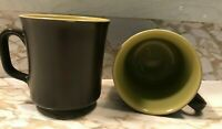 2 Vintage Mug Hot Beverage Coffee Cup w/Handle Great Pottery 1960's
