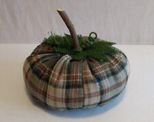 "Hobby Lobby Decorative Fall Plaid Plush Pumpkin 8"" Rustic Green w/ Wooden Stem"