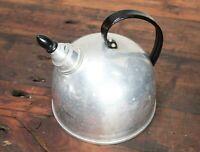 Vintage Aluminum Whistling Tea Kettle with Black Handle