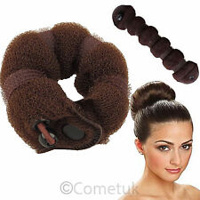 2Pcs Sponge Hot Buns Small Large Hair Styling Doughnut Maker Ring shape Brown