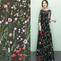 1 Yard Vintage Floral Embroidery Mesh Wedding Dress Lace Fabric  91*150cm