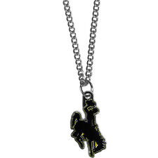 "wyoming cowboy licensed college football charm necklace with 22"" chain"