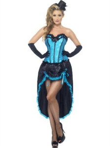 Burlesque Dancer Costume, Blue, with Corset and Adjustabl (UK IMPORT) COST-W NEW