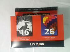 Lexmark Combo #16 and #26 Ink Injet Printer Cartridges Black Color NIB