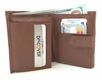 Brown Calfskin Leather Women French Wallet Accordion Open Credit Card ID Purse