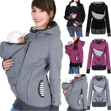 Women Maternity Stripe Baby Carrier Hoodie Tops Kangaroo Zipper Pregnancy Blouse