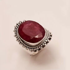 Natural African Red Ruby Gemstone 925 Sterling Silver Ring Vintage Fine Jewlry