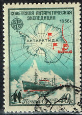 Russia Soviet Antarctic Stations Map Ship Pinguins stamp 1956
