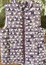 Lands' End Big Girl's Puffer Vest Xl 16 Purple & Light Gray Hearts Front Zip ExC