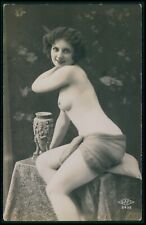 French nude woman classic smiling pose original old 1920s Sapi photo postcard