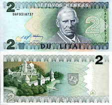 Lithuania 2 Litai Banknote,1993 Uncirculated Condition P54, M.Valancius, Trakai