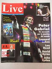 rivista LIVE MUSIC 1/1992 Peter Gabriel Lou Reed Cure Ivano Fossati J.L.U2 No cd