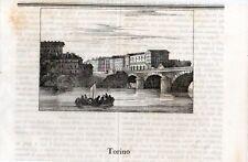 Stampa antica Veduta di TORINO Ponte Vittorio Emanuele e Via Po Cosmorama 1840