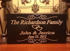 Personalized Est. Family Sign Wedding Gift Last Name Wooden Engraved Marriage