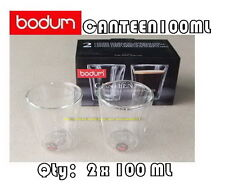 BODUM CANTEEN DOUBLE WALL CLEAR THERMO-GLASSES ESPRESSO COFFEE CUPS x2 100ML