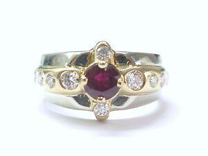 Estate Gem Ruby Diamond 2-Tone Jewelry Ring 1.72CT