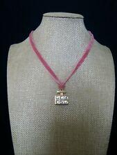 Michael Kors Pink Velvet Ribbon Necklace Rhinestone Crystal Gold Perfume Pendant