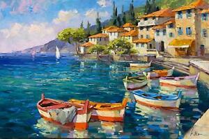 "Anatoly Metlan  ""Fishermen Town"", original, oil on canvas"