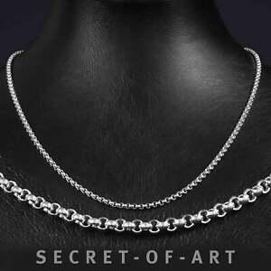 Silber 925 Sterling Halskette Erbskette Anker 3 mm, Länge wählbar: 50-55-60 cm