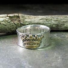 Boho 925 Silver Turkish Handmade Women Two Tone Ring Crown Jewelry Gift Size 8