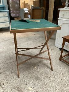 Vintage Brown Wooden Folding Card Games Table Green Felt Top TLC Project