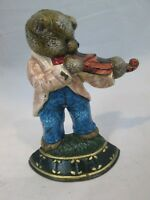 Vintage Cast Iron Bear Playing the Violin America Doorstop 6 1/2 inches