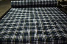 "Royal Blue / Hunter Green Tartan Wool Fabric 60""W Upholstery Apparel Soft"