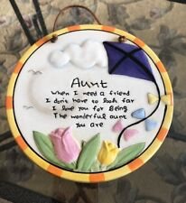 Multi Color Flowers Decorative Aunt Message Hang Or Stand Plate