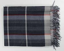Brioni New Cashmere Silk Charcoal Gray Red Plaid Throw Blanket $2K Made in Italy