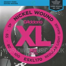 D'Addario ESXL170 Doble Ball herida bajo guitarra, cuerdas de níquel End .045 - .100