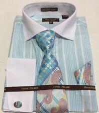 Men's HENRI PICARD French Cuff Dress Shirt TURQ Tie Hanky Cufflinks Set