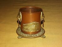 """VINTAGE 2 3/4"""" HIGH BRASS COPPER LION HEAD RING HANDLE CUP"""