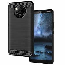 Custodia cover Brushed Carbon Design flessibile tpu per Nokia 9 PureView NERA