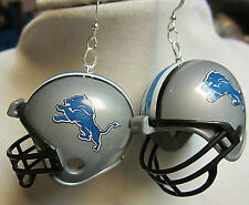 Nora Winn Big Unique 925 Earrings Nfl Football Helmet Detroit Lions
