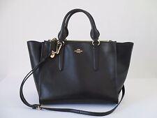 Coach Crosby Carryall Black Leather Satchel Tote Handbag