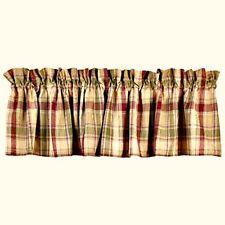 New Country BRANDYWINE Burgundy Sage Green Tan Plaid Curtain Window Valance
