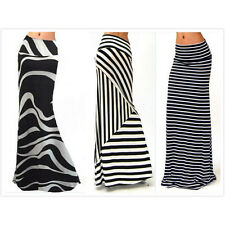 Women's Fold Over High Waist Striped Print Long Maxi Stretchy Skirt Plus Size 3X