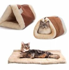 KITTY SHACK 2 IN 1 SELF HEATING PET TUNNEL BED & MAT CAT DOG PORTABLE WARM & HOT