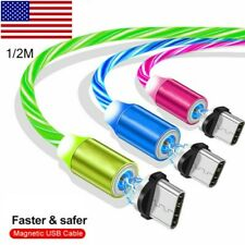 US 360° Magnetic Glow Flowing Fast Charging Cable Type-C Micro USB Charger Cable