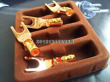 4Pc Red Copper Speaker Cable Spade Terminal Connector GF Plug