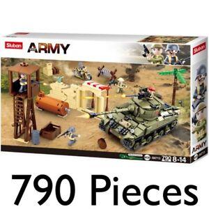 SLUBAN ARMY BATTLEFIELD TANK SOLDIERS BIKE CONSTRUCTION BUILDING BRICKS 0713