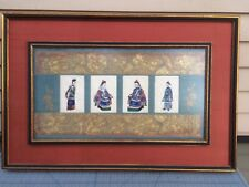 Chinese Figure Paintings on Rice Pith Paper Antique Qing Dynasty Kesi Framed