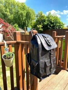 Genuine Leather Backpack Satchel Black Vintage Bag laptop Rusksack unisex
