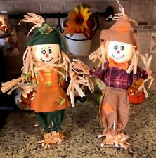 Scarecrow Couple Thanksgiving Turkey Fall Harvest Tabletop Window Wreath Pick