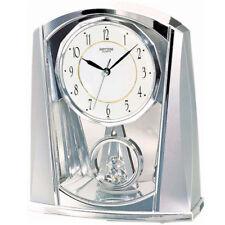 NEU Rhythm Tischuhr Pendel silber Schreibtisch Uhr Kamin modern Regaluhr Büro